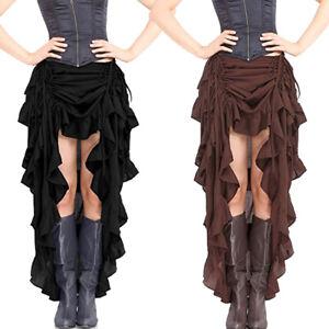 Victorian Vintage Ladies SteamPunk Retro Gothic Dress High Ruffle Bustle Skirt