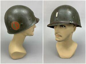 Korean War 1950s Vintage M1 Helmet Liner w 1st Lt. Bar & 85th Division Decal