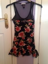 Ladies Size 8 Black Floral Dress From Primark