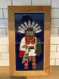 Native American Indian Tile Art Wooden Frame Navajo Kachina Doll 14 1/2 X 8 1/2