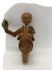 Vintage German Carved Man Sitting on Barrel Wood Puppet Cork Wine Stopper