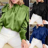 UK Ladies Vintage OL Work Satin Tops Ruffle Puff Sleeve Women Collar Blouse 8-26