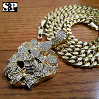 "Luxury Big CZ Lion Head Pendant & 10mm 30"" Cuban Heavy Chain Hip Hop Necklace"
