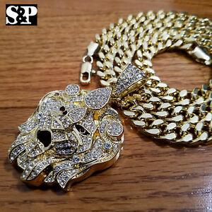 """Luxury Big CZ Lion Head Pendant & 10mm 30"""" Cuban Heavy Chain Hip Hop Necklace"""