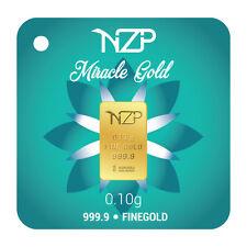 world smallest gold 0.10 gram gold bar 24 karat 999,9 Nzp Gold int. sertificated
