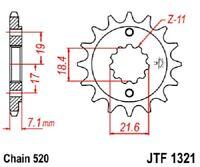 JT Sprockets Steel Front Sprocket 13T 520 Pitch JTF1321.13