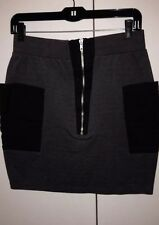 Grey Black Karmaloop Silver Zipper Skirt Medium