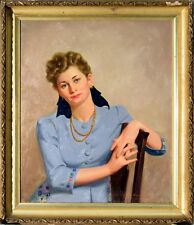 "Original HARRY WORTHMAN Work, ""Portrait of a Seated Female,"" Oil on Canvas, 1943"