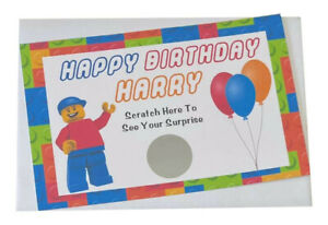 Personalised Happy Birthday Gift Legoland Reveal Scratch Card Surprise
