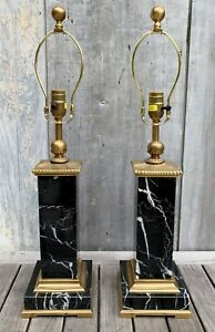 Chapman Pair of Chinoiserie Black Marble & Brass Lamps w/ Square Ming Bases 2001
