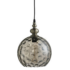 Indiana Antique Brass Globe Ceiling Pendant Light Fitting Dimpled Glass Shade