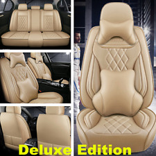 Beige Luxury PU Leather Car Seat Cover Cushion 5D Surround Breathable Full Seat