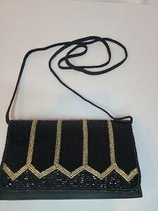 Vintage La Regale Beaded Black Evening Bag Clutch Purse Satin Lining
