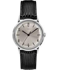 Timex Marlin 34mm Hand-Wound Silver-tone Leather Strap Mens Watch TW2R47900ZV