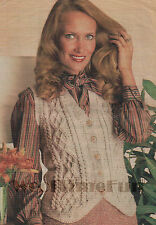 Vintage Knitting Pattern Ladies Classic Aran Cable Waistcoat.32 to 38 Inch Bust.