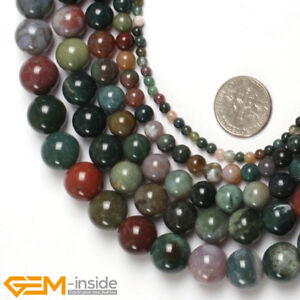 "Natural Round Indian Agate Onyx Gemstone DIY Beads For Jewellery Making 15""  AU"