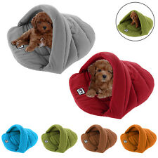 Pet Cat Dog Nest Bed Soft Warm Cave House Sleeping Bag Mat XS S M L Fleece