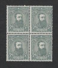 CONGO belge Belgische n° 10** mnh** bloc de 4 timbres 50c gris 1887 cob € 44-