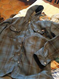 DICKIES Hooded Flannel Jacket size 3XL 3EG 54-56 Blue Plaid Fleece Lined Coat