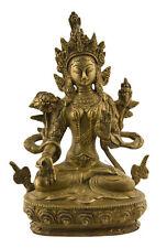 Statue tibetaine de Green Tara Verte  Bodhisattva Tibet 1KG700 Laiton 3796