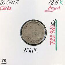 50 CENTIMES CERES - 1871K - Pièce de monnaie en Argent // TB