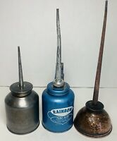 EAGLE RAINBOW And Vintage PUMP OILER Oil Can Blue 10 oz Made Lot Of 2