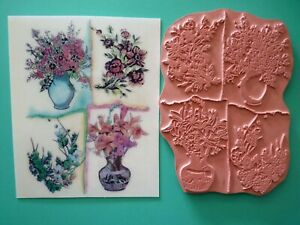 "Floral Collage Unmounted Cling Rubber Stamp 5"" x 4"""