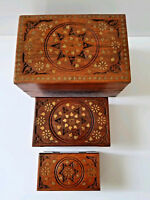Vintage India Carved Wood and Brass Set of 3 Nesting Boxes