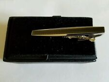 Pronto Uomo Silver and Smoke Greek Key Tie Clip
