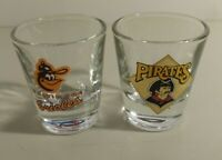 2 Collectible Shot Glasses- Pirates & Orioles Sports Teams 2.25 Inches Tall Used