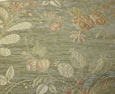 2.4yd Bolt STROHEIM Upholstery Fabric- FLORAL VINE CHENILLE TAPESTRY- Sage NOS