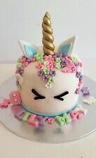 EDIBLE UNICORN HORN EARS EYES NAME AGE 80 FLOWERS CAKE TOPPER DECORATION