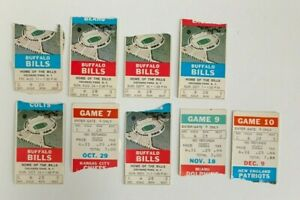 Lot of 9 Buffalo Bills 1973 ticket stubs- 1st Year Rich Stadium & OJ 2003 yards