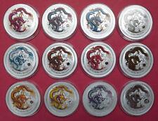 2012 Australia 12 x Lunar Dragon 1 oz .999 Silver Bullion Coins. Complete Set.