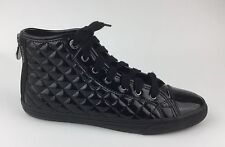 Geox Respira Womens Black Quilted Patent Leather Athletic Shoes Sz US 8 EU 38