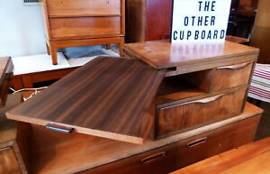 Vintage Retro Mid Century Dario Zoureff Walnut and Teak Bedhead Bedside tables