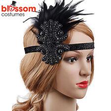 K318 Black Great Gatsby Headpiece Flapper 20s Costume Headband Headdress Feather