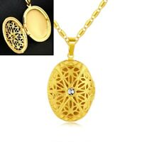 18k Yellow Gold Womens Link Chain Necklace With Photo Locket + Gift Pkg D667B