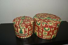 Set of 2 Round Christmas Holidays Nesting gifts or storage Boxes.Never Used-Fs