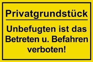 ☆ Schild - Privatgrundstück - Betreten und Befahren verboten 250 / 300 / 350