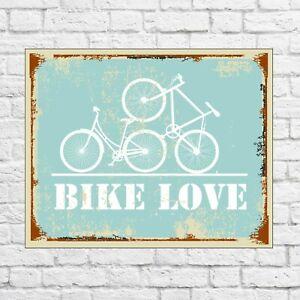 Bike love sign, bicycle sign, bicycle metal sign, garage signs tin, garage decor
