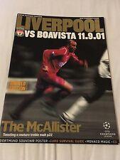 Liverpool V Boavista 2001 champions league programme
