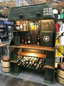 Upcycled home bar - Vintage Jeep Chassis - Lights wine rack - man cave 2.2m High