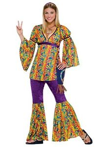 Purple Haze Hippie 60's 70's Halloween Costume Adult Women's One Size to 10-12