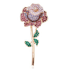 GORGEOUS ITALINA 18K ROSE GOLD PLATED CUBIC ZIRCONIA PURPLE ROSE FLOWER BROOCH