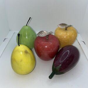 VTG Alabaster Polished Marble Stone Fruit Lot 5 Eggplant /2 Apples / Pear/ Lemon