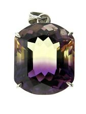 Sterling Silver 35 Carat Ametrine Faceted Modified Cushion Pendant