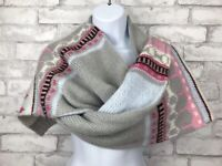 New! Gap Womans Mohair Blend Scarf: Fair Isle Gray Blue Pink Knit Sweater 82x13