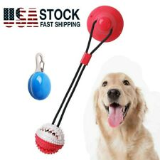Suction Cup Dog Ball Pet Dog Chew Tug Toy Interactive Teeth Cleaning & Pet Light