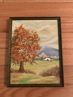 Original Painting OIL On Canvas Antique Wood Frame Landscape 1976 Marian 10x13
